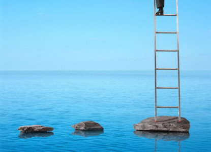 Man Climbing Ladder on Water