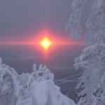 Оптические явления.  Квадратное солнце.  1 ноября 2010 года,14:11.  Фото из альбома.