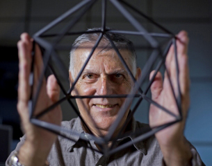 Nobel Laureate in Chemistry 2011, Professor Dan Shechtman, an Israeli scientist, who discovered quasicrystals displays a model at the lab in the Technion, Haifa, Israel on October 24, 2011.