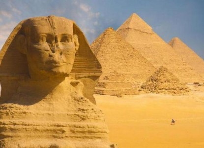 Great Sphinx Face Pyramids Background